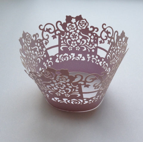 12 pcs Lavender Lace Rose Box Cupcake Wrappers
