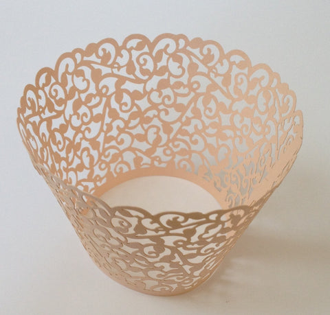12 pcs MINI (Small) Rose Gold Filigree Lace Cupcake Wrappers