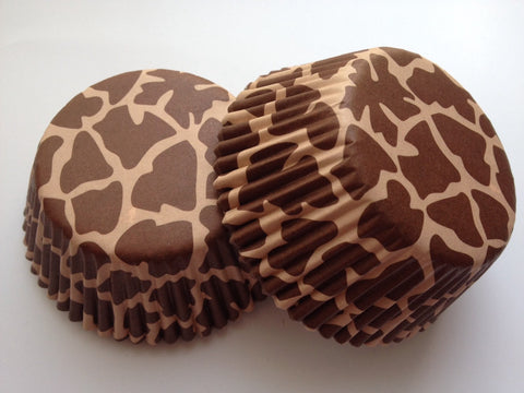 50 pcs Brown Giraffe Spot Cupcake Liners Animal Print