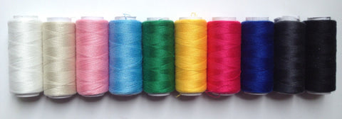 New 10 pcs 100% polyester sewing thread 200 yards each Spool White Black Red Yellow Green Pink White Beige