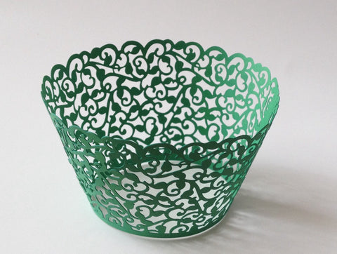 12 pcs Green Filigree Lace Cupcake Wrappers