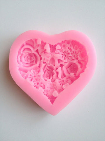 Heart Rose with Leaves Petals Soft Silicone Mold-Unbranded