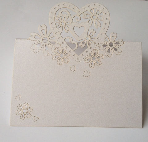 10 pcs White Lace Wedding Name Place Cards