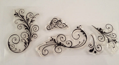 5 pcs Scroll Lace Flower Clear Silicone Acrylic Rubber Stamp Scrapbook Cardmaking unmounted Stamps