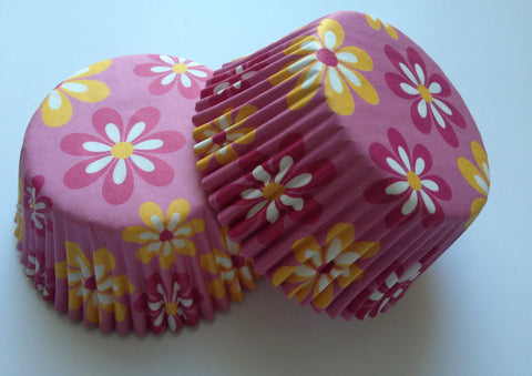 50 count Pink White Flowers Floral Liners