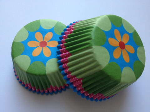 50 pcs Flower Green Cupcake Liners