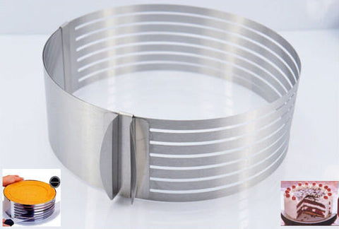 "6"" to 8"" Adjustable Cake Ring Round Stainless Steel Bakeware Tool Mousse Mold Layer Slicer Cutter Decorating baking"