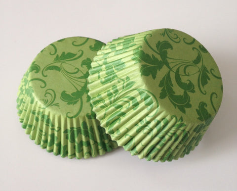50 count Green Damask Cupcake Liners