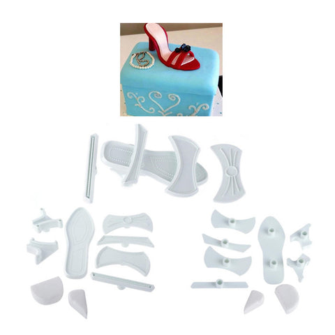 9 Pcs Plastic High Heeled Heels Shoes Cake Cutter Mold Craft Fondant Cooking Food Candy Chocolate Tool Gumpaste Baking Tools Supplies Shoe