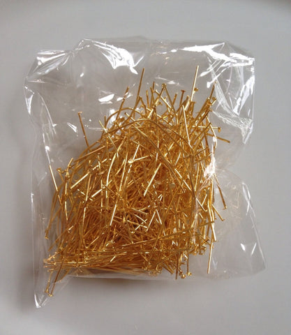 New! 400 pcs Gold Plated Head Pins Jewelry Bead 0.7 X 40mm Earring 61G Making Supplies Tools Gauge 21 Findings Crafts bead hardware