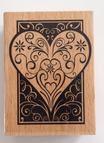 1 pc large Wooden Heart Love Rubber Stamp