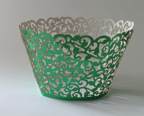 12 pcs Metallic Shiny Green Filigree Classic Lace Cupcake Wrappers