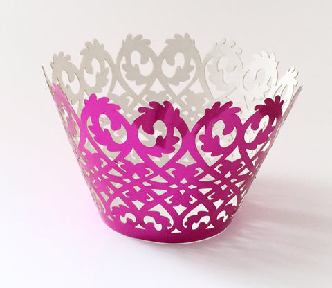 12 pcs Metallic Shiny Fuchsia Pink Damask Cupcake Wrappers