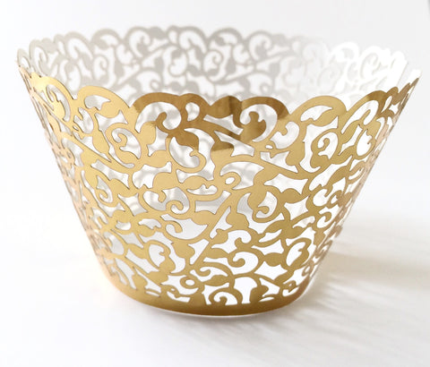 12 pcs MINI (Small) Metallic Gold Classic Filigree Lace Cupcake Wrappers