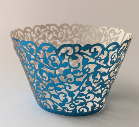 12 pcs Metallic Shiny Blue Filigree Classic Lace Cupcake Wrappers
