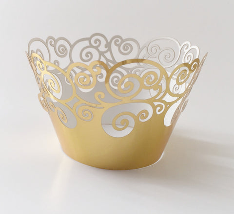 12 pcs Metallic Gold Swirl Cupcake Wrappers