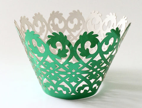 12 pcs Metallic Green Damask Cupcake Wrappers