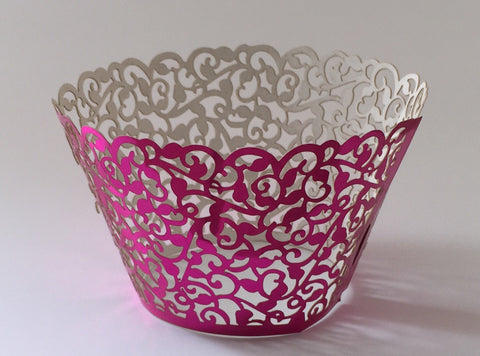 12 pcs Metallic Fuchsia Pink Classic Lace Cupcake Wrappers