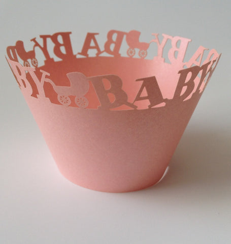 12 pcs MINI (Small) Baby Pink Carriage Cupcake Wrappers