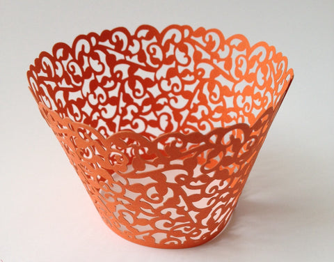 12 pcs Orange Coral Classic Lace Cupcake Wrappers