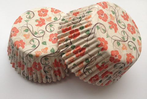 50 count Pretty Orange Flowers Cupcake Liners