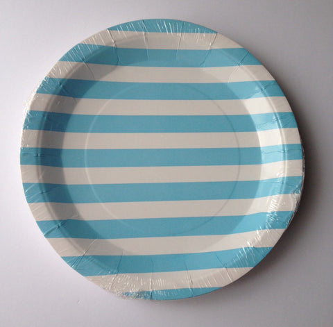 10 pcs Blue Striped Paper Plates Food Crafts