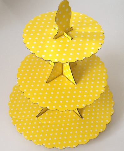 New 3 Tier Cupcake Stand Cardboard Yellow Wedding Party Cake Cookie Shiny Cake Stand Party polka dot