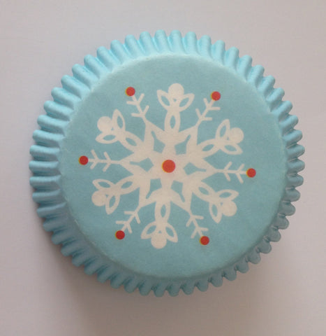 50 count White Snowflakes Winter Cupcake Liners