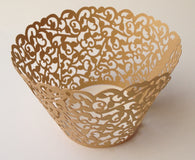 12 pcs MINI (Small) Gold Filigree Lace Cupcake Wrappers