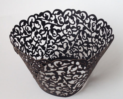 Copy of 12 pcs Black Classic Filigree Lace Cupcake Wrappers