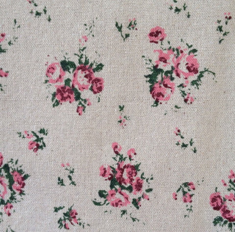 New! 1 Yard Fabric Flower Floral Pink Rose Linen Sewing Quilting Cotton Linen  Blend Pattern Sewing Quality linen red quilting floral