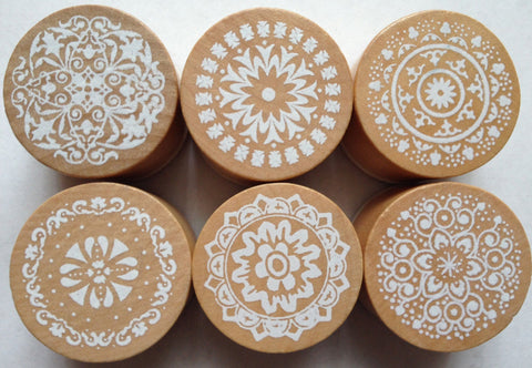 6 pcs Wooden Lace Rubber Stamps Cardmaking Scrapbooking DIY Wedding Beautiful Tools Supplies