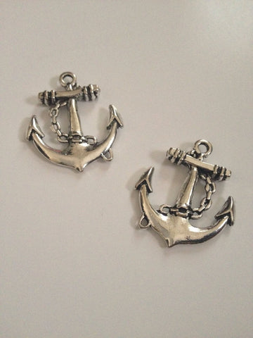 New 20 pcs Nautical Antique Silver Charm Anchor Sailboat Pendant Ship Beads Ships Charms 1AC