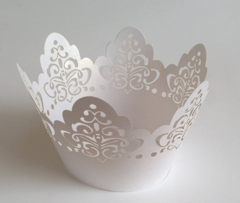12 pcs White Damask Crown Lace Cupcake Wrappers