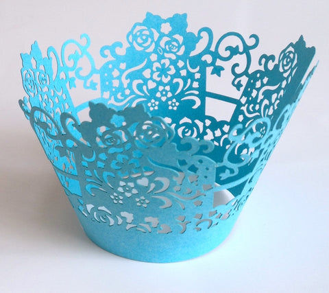 12 pcs Turquoise Blue Rose Lace Box Cupcake Wrappers
