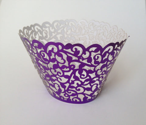 12 pcs Metallic Purple Classic Lace Cupcake Wrappers