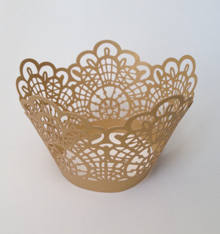 12 pcs Gold Crochet Lace Cupcake Wrappers
