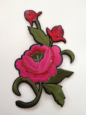 New 5 pcs Large Red Rose Bloom Embroidered Iron On Applique Patch Flower Sewing Fabric