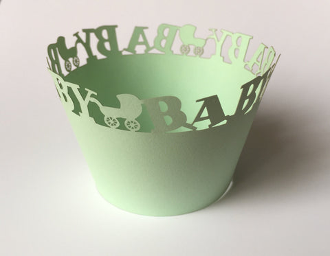 12 pcs Green Mint Baby Carriage Cupcake Wrappers