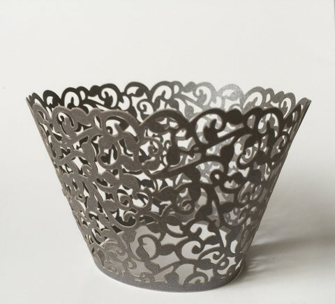 12 pcs MINI (Small) Dark Gray Filigree Lace Cupcake Wrappers