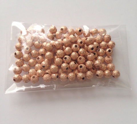100 pcs Rose Gold Spacer Beads Round Brass 4mm -- 67B