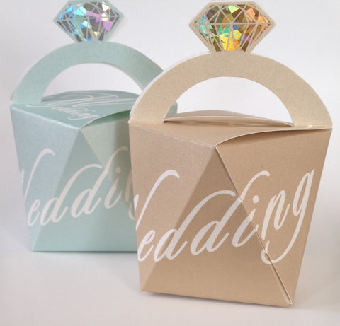 10 pcs Beautiful Pearlized Gold and Light Blue Diamond Ring Wedding Favors Favour Candy Package Box Boxes Almond Sweet