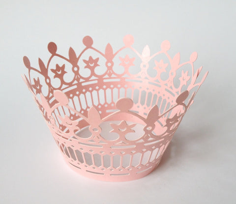 12 pcs Pink Crown Design II Cupcake Wrappers