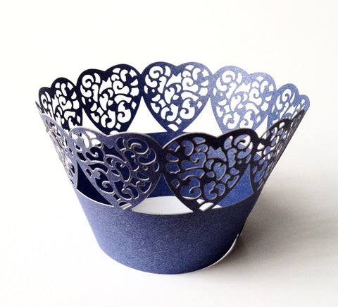 12 pcs MINI (Small) Navy Blue Heart Edge Lace Cupcake Wrappers