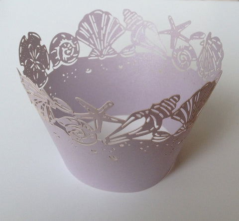12 pcs Lavender Seashells Cupcake Wrappers