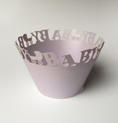 12 pcs Lavender Baby Carriage Cupcake Wrappers
