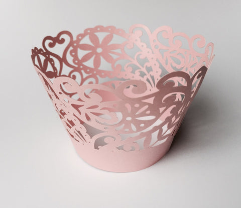 12 pcs Pink Paisley & Lace Cupcake Wrappers