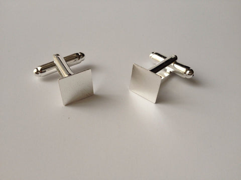 5 pairs Silver Plated Cufflinks Blanks Pads Jewelry Making Mens Cuff Links 3CN