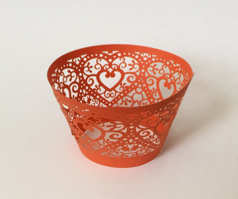 12 pcs Orange Coral Heart Lace Cupcake Wrappers