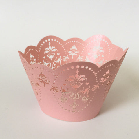 12 pcs Vintage Pink Damask Lace Cupcake Wrappers